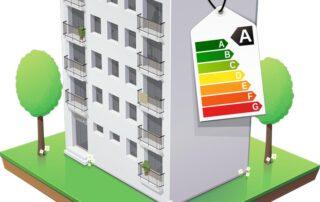 Illustratie van een gebouw met een energielabel